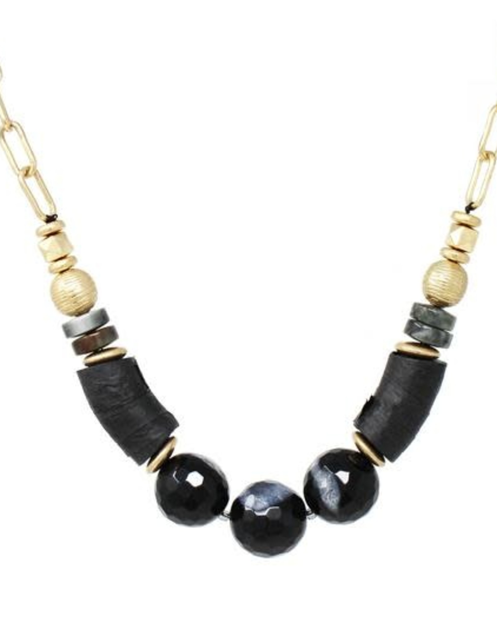 Raffia Wrapped And Glass Beaded Short Necklace Black