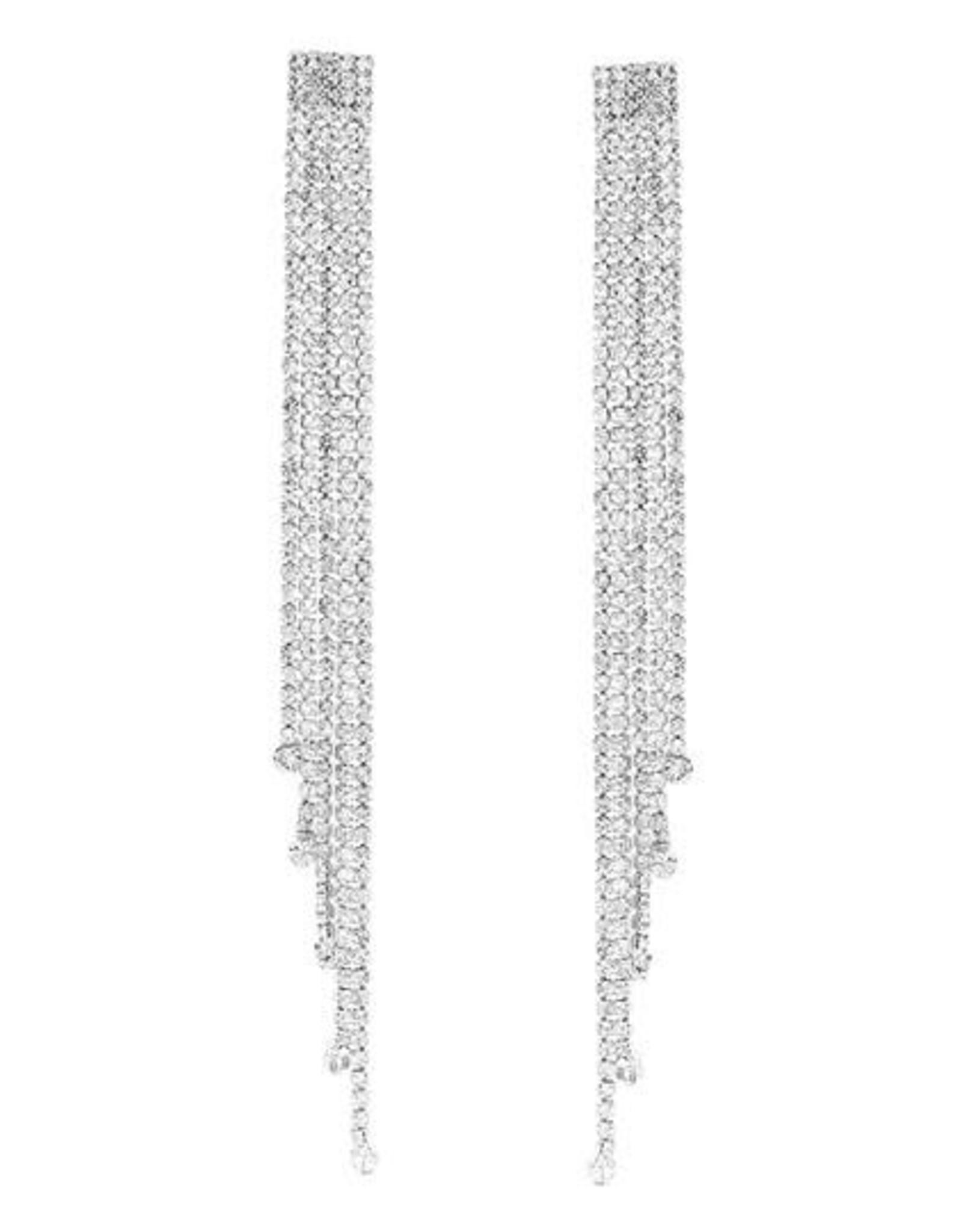 Rhinestone Fringe Long Drop Earrings
