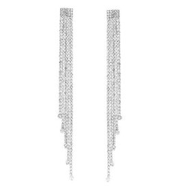 Rhinestone Fringe Long Drop Earrings