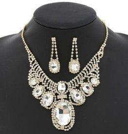 Chunky Oval Glass Stone Short Necklace Set - Gold