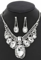 Chunky Oval Glass Stone Short Necklace Set - Silver