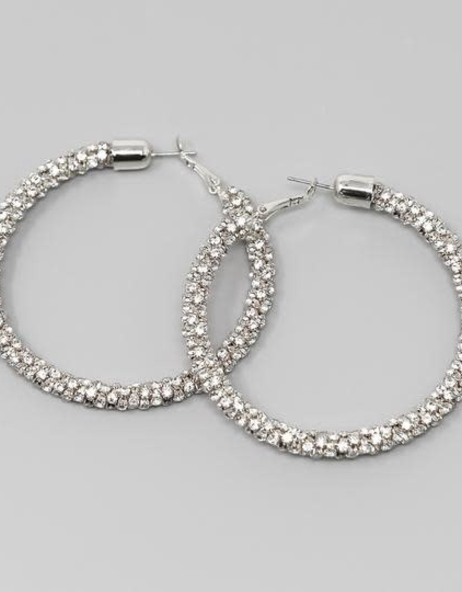 Rhinestone Wrapped Hoops (65mm) Silver