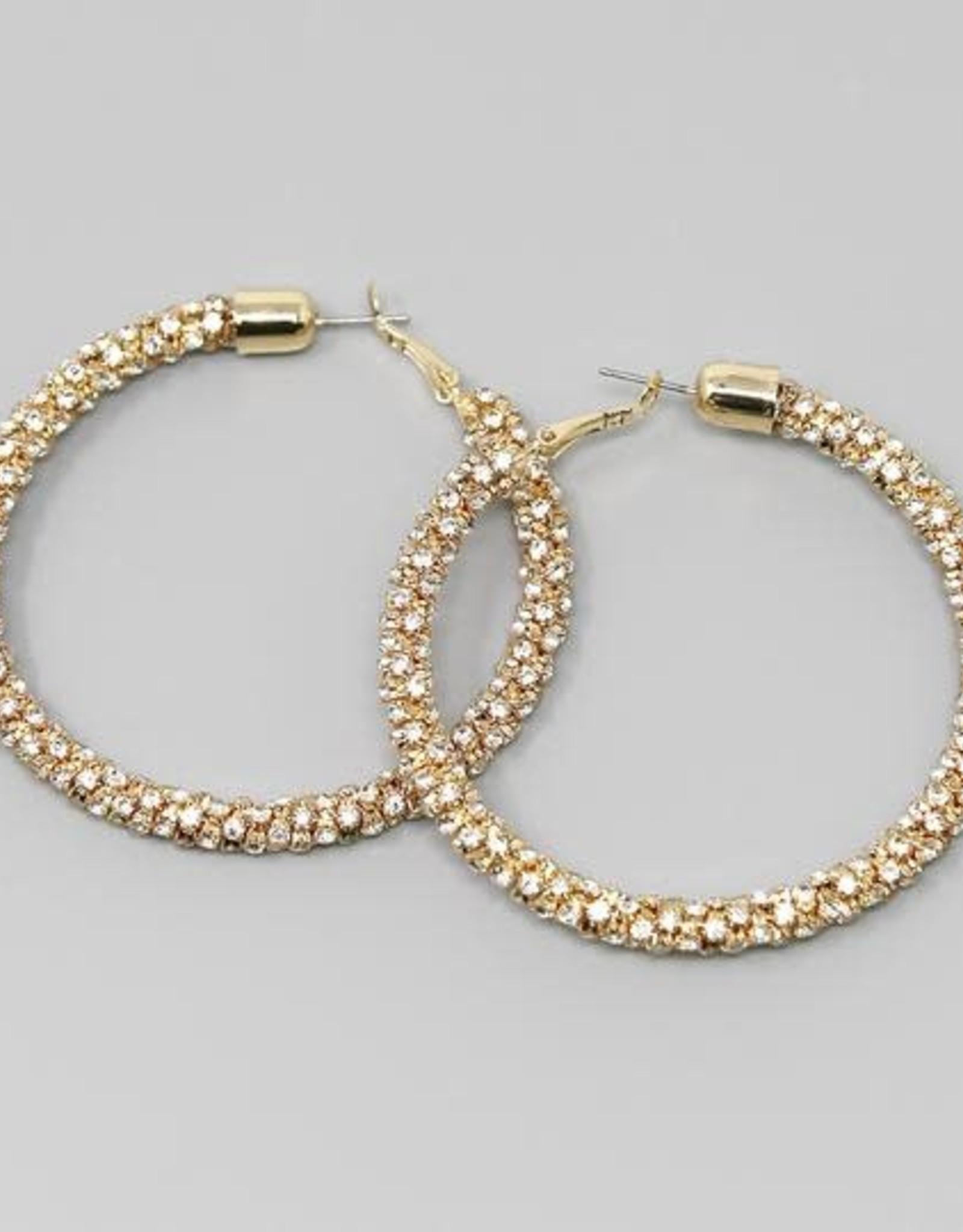 Rhinestone Wrapped Hoops (65mm) Gold