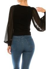 Chiffon Bubble Sleeve Sweater Top