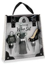 Fashion Wine Set - Black  & Silver Studs