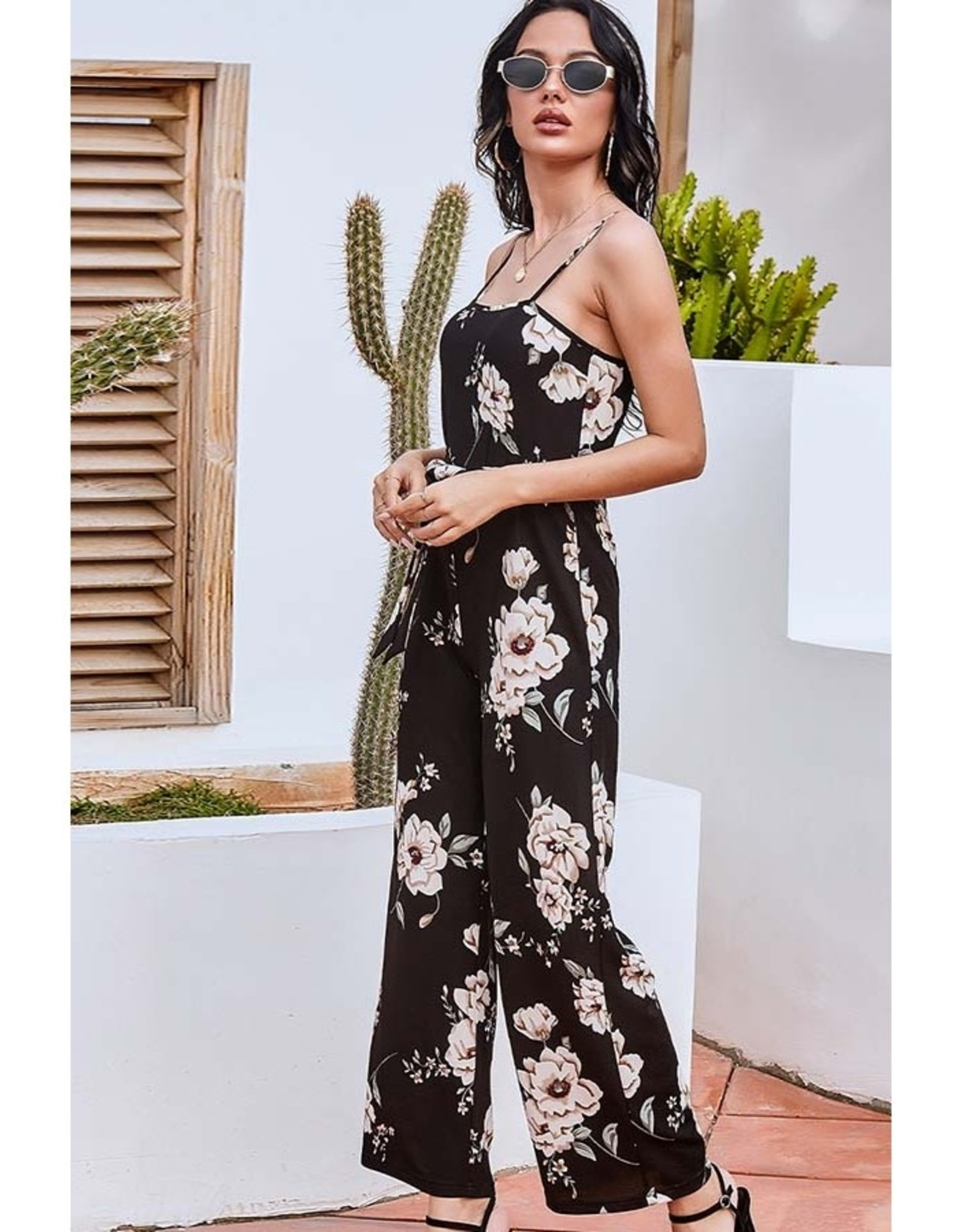 Floral Print Spaghetti Strap Jumpsuit Black