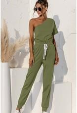 One-Shoulder Jumpsuit Olive