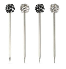 Bejeweled Clear & Black Cocktail Pics - Set of 4