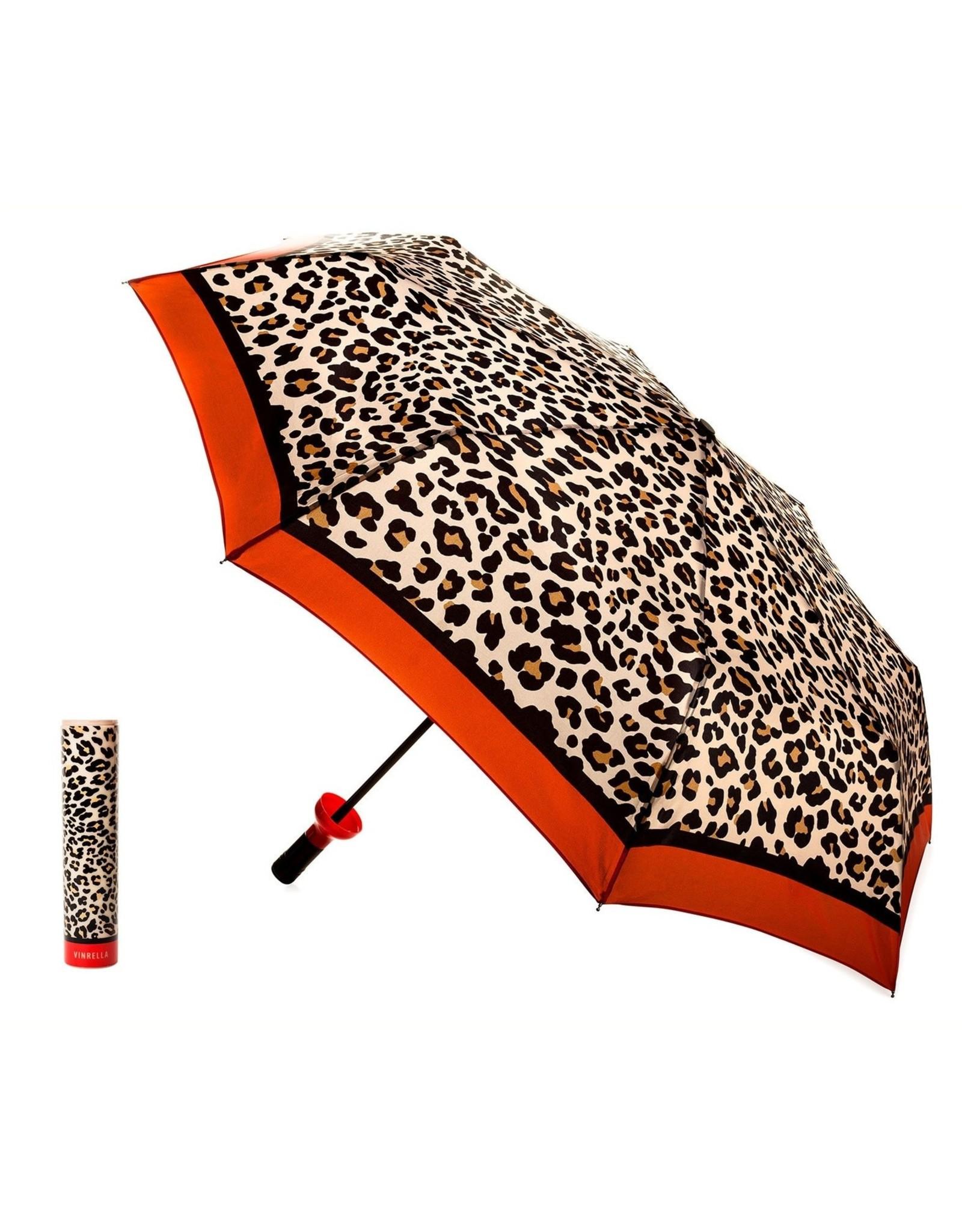 Wine Bottle Umbrella - Leopard Print