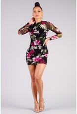 Floral Mesh Print Long Sleeve Mini Dress