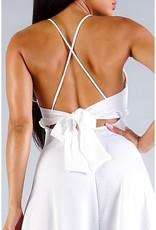 Crossover Front Back Tie Slit Midi Dress
