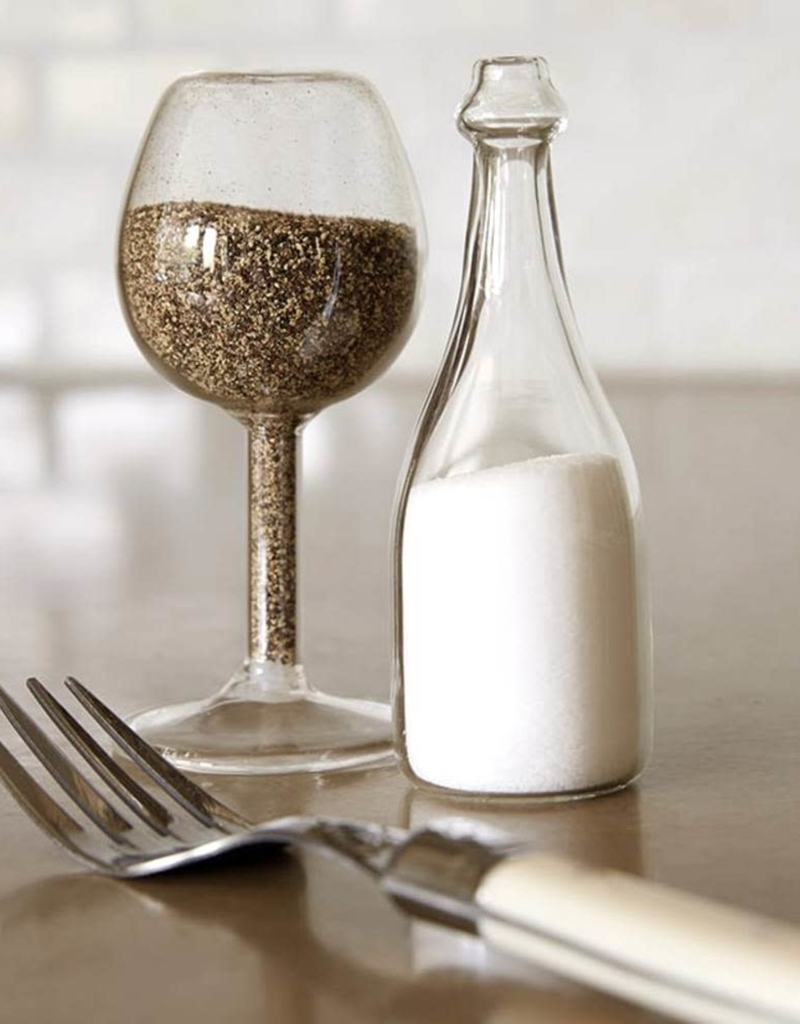Salt and Pepper Shakers Wine Glass and Bottle