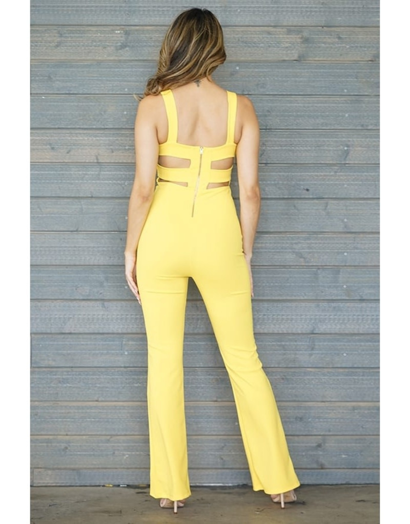 Back Cut-Out Jumpsuit Yellow