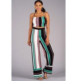Crop Top & Pant Set - Multi Pink Stripe