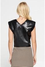 Faux Leather Shoulder Pad Top