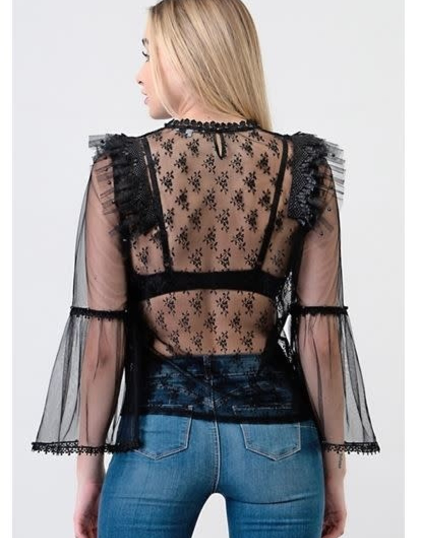 Laced Top with Bell Sleeve & Pearl Detail Black