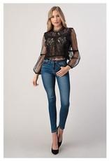 Lace & Mesh Bubble Sleeve Blouse