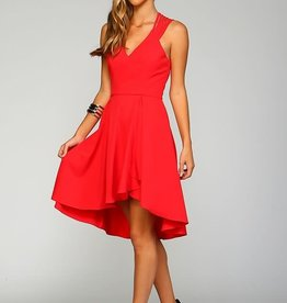 Watermelon High Low Fit & Flare Dress