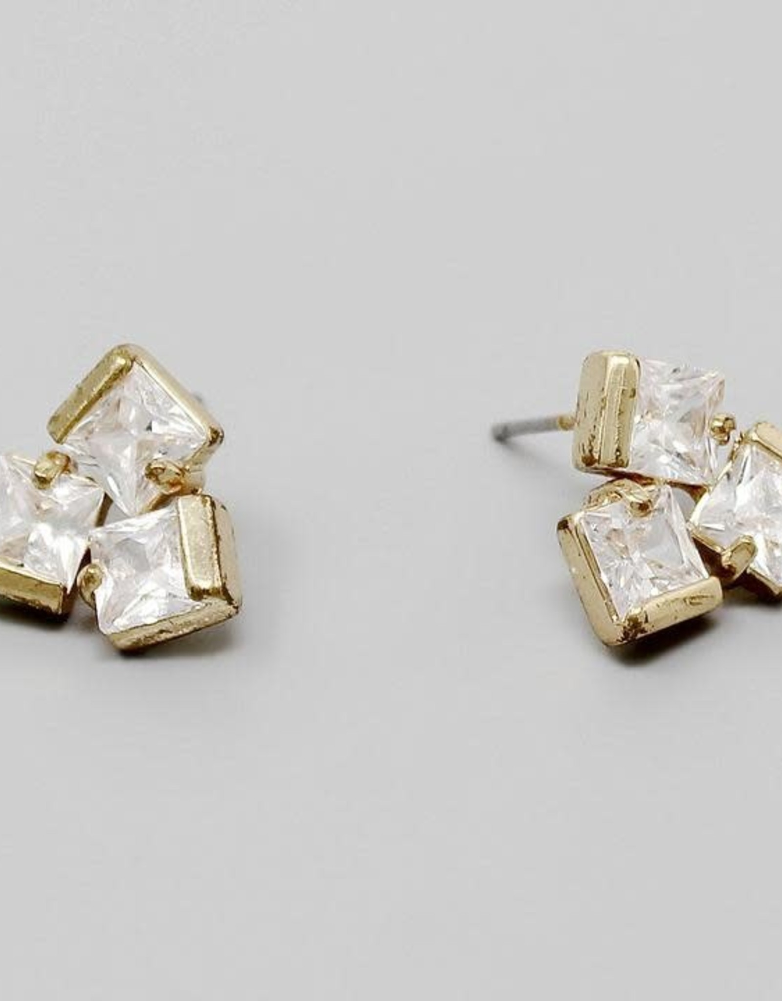 CZ Stone Cluster Stud Earrings - Gold