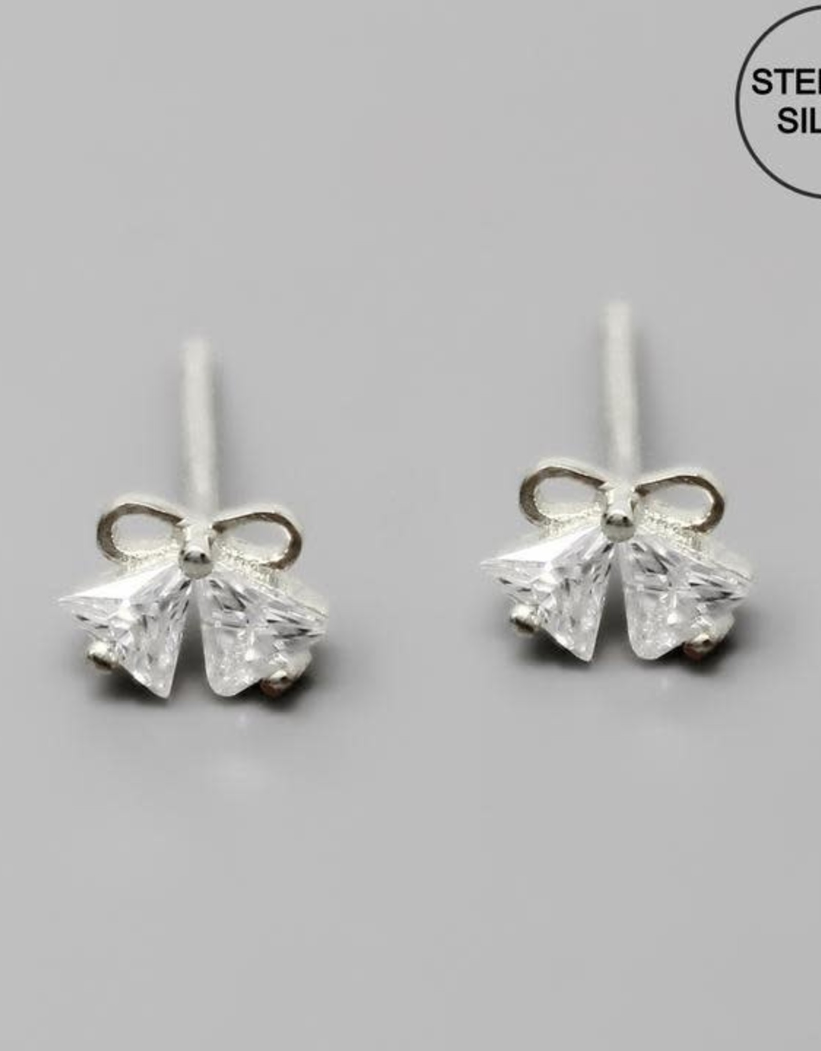 CZ Bow Shape Sterling Silver Studs