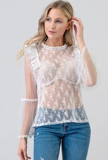 Laced Top with Bell Sleeve & Pearl Detail White