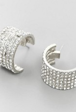 Glass Stone Pave Thick Hoops - Silver