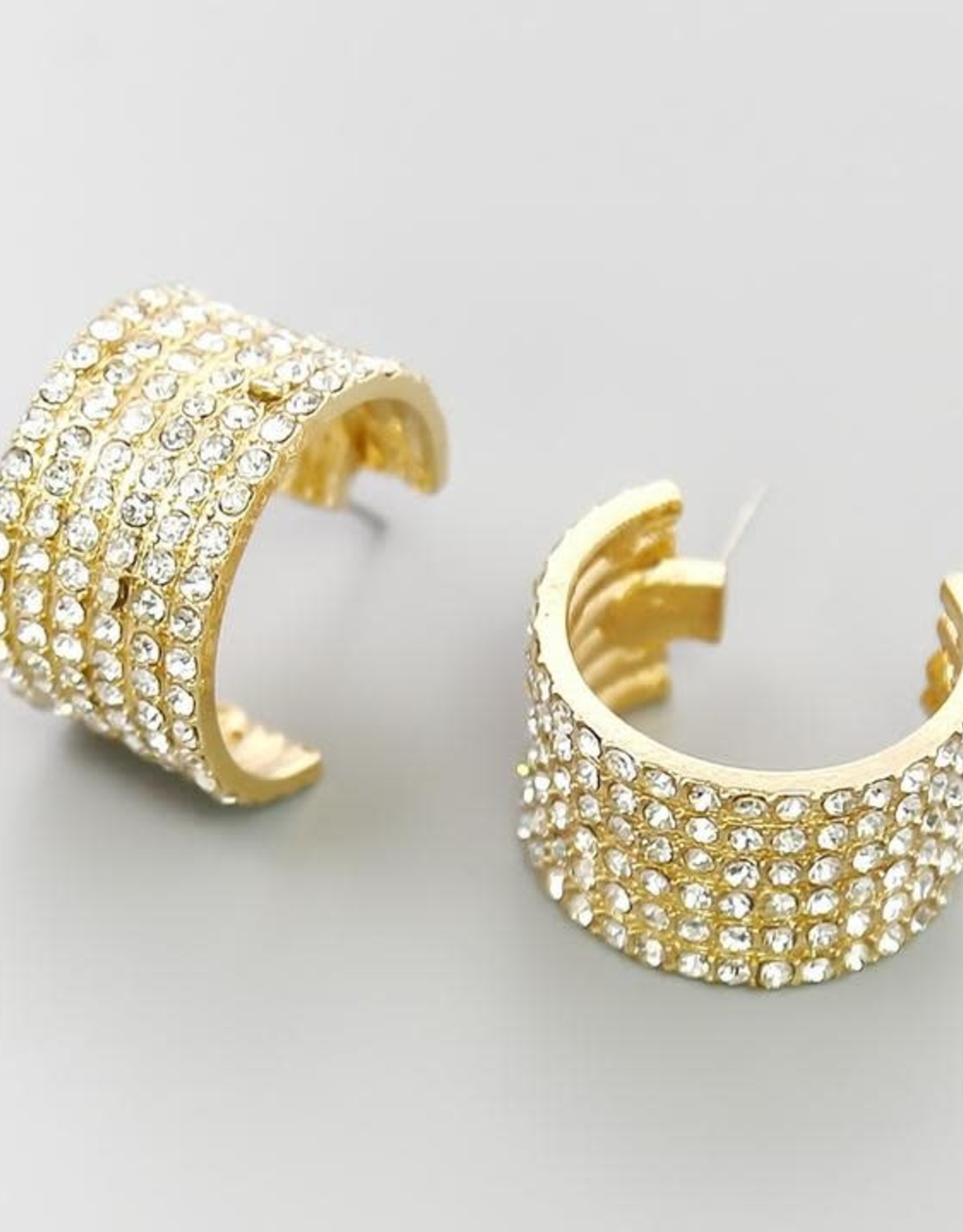 Glass Stone Pave Thick Hoops - Gold
