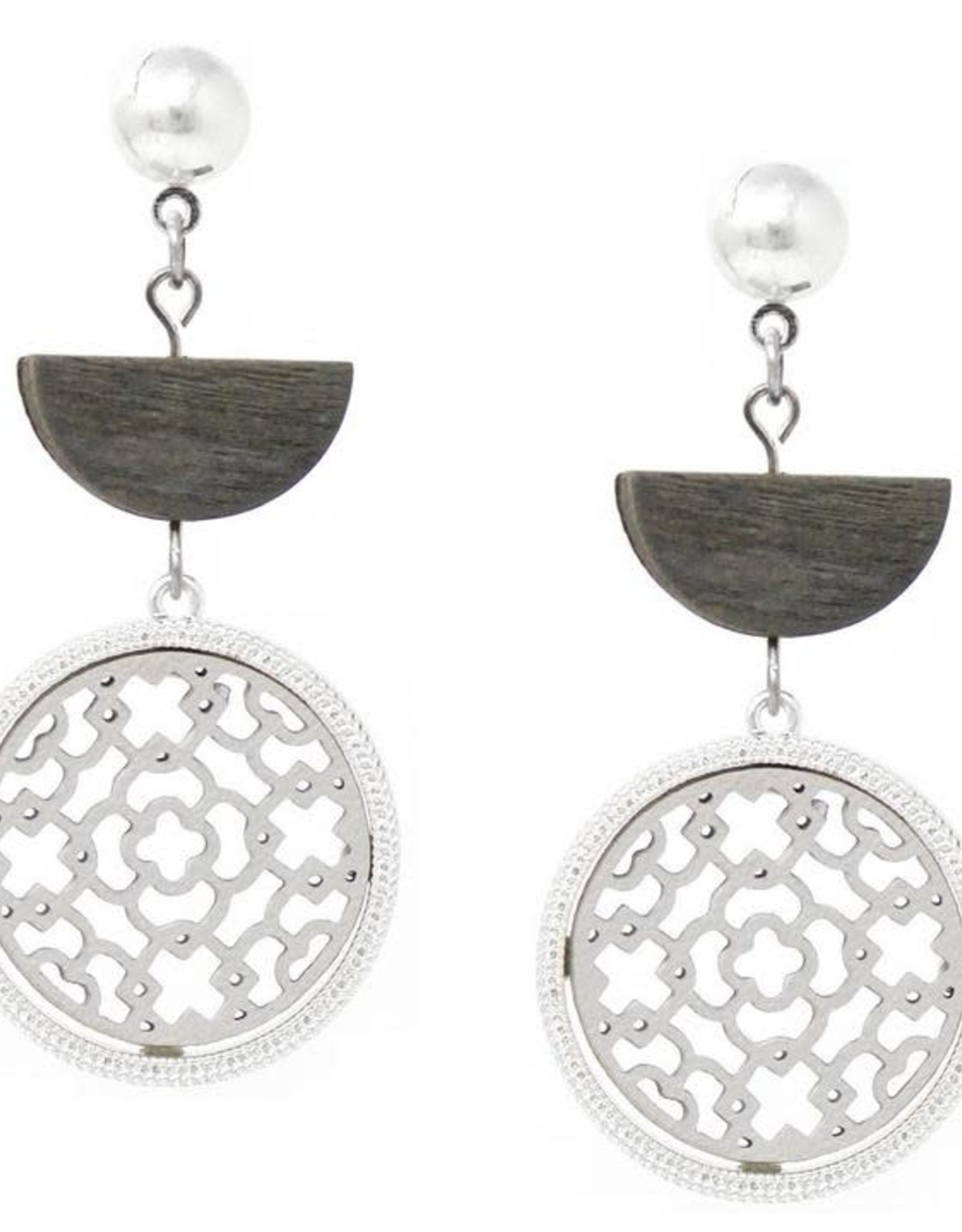 Wooden Half Disc & Leather Cutout Circle Drop Earrings - Worn Silver/Grey