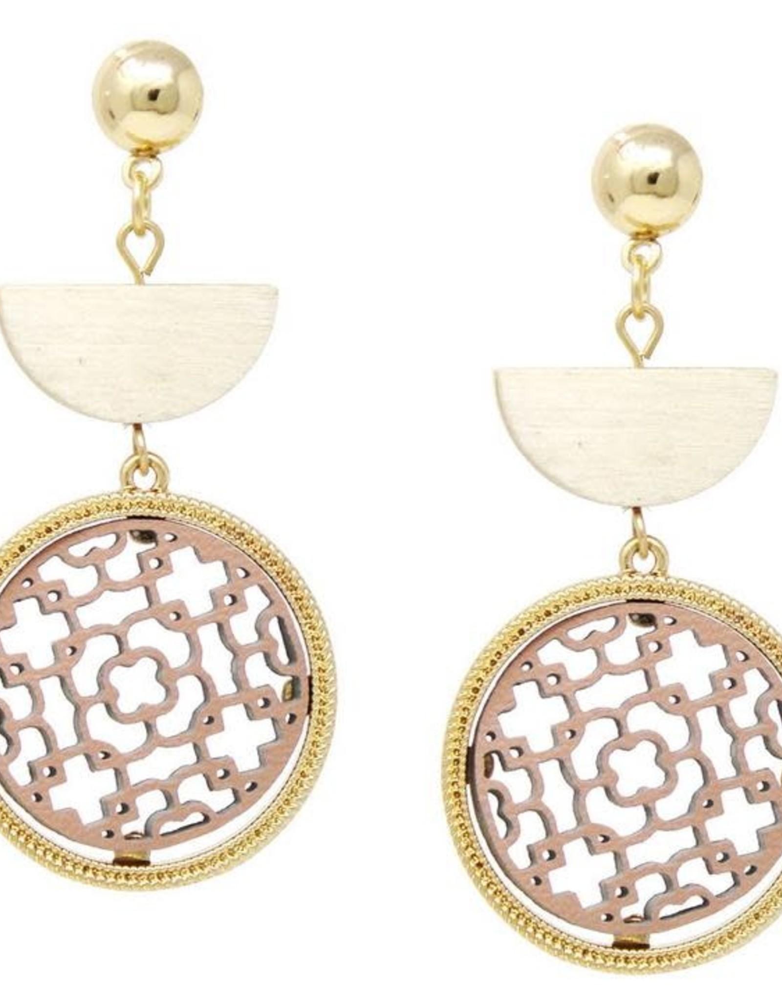 Wooden Half Disc & Leather Cutout Circle Drop Earrings - Worn Gold/Blush