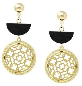 Wooden Half Disc & Leather Cutout Circle Drop Earrings - Gold/Gold
