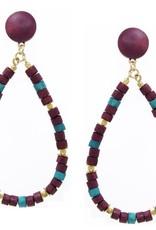Wood Beaded Teardrop Earrings - Amethyst