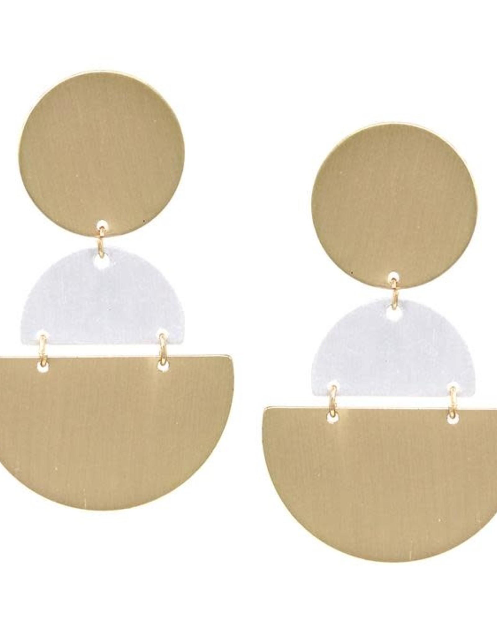 Geometric Shape Satin Finished Metal Drop Earrings