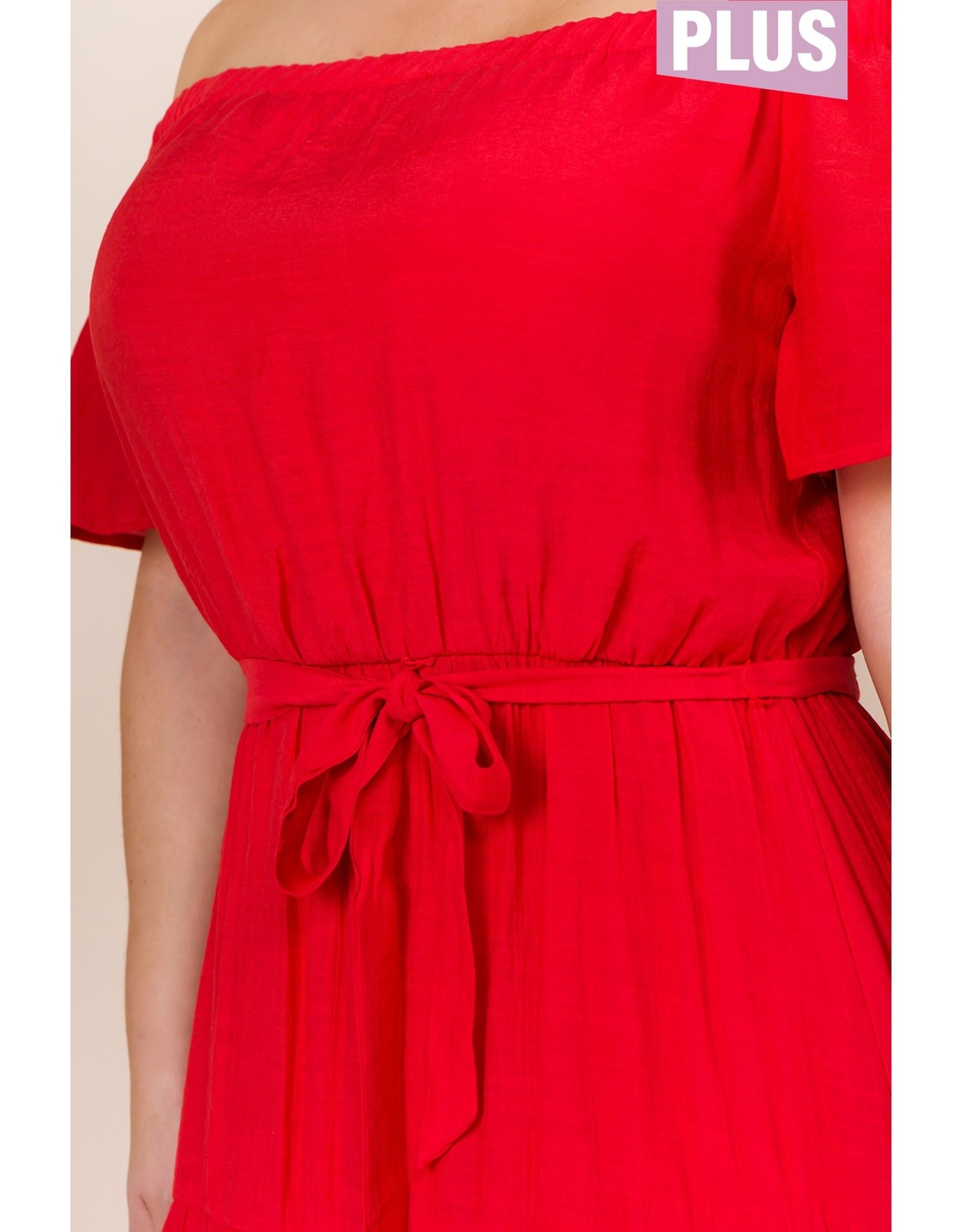 Off Shoulder Tiered Maxi - Poppy Red PLUS