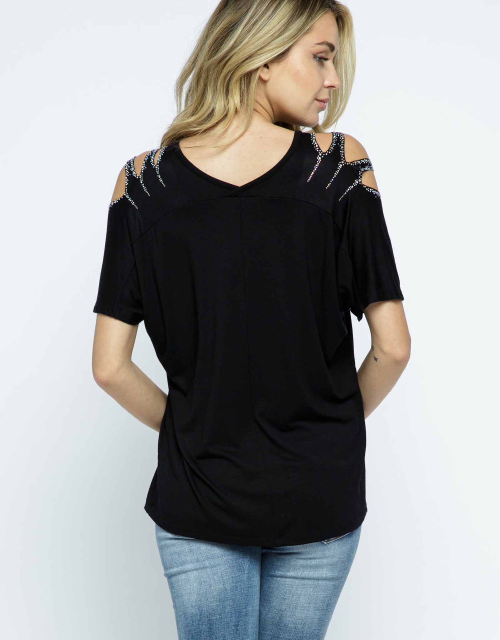 Short Sleeve with  Laser Cut and Rhinestone Shoulder