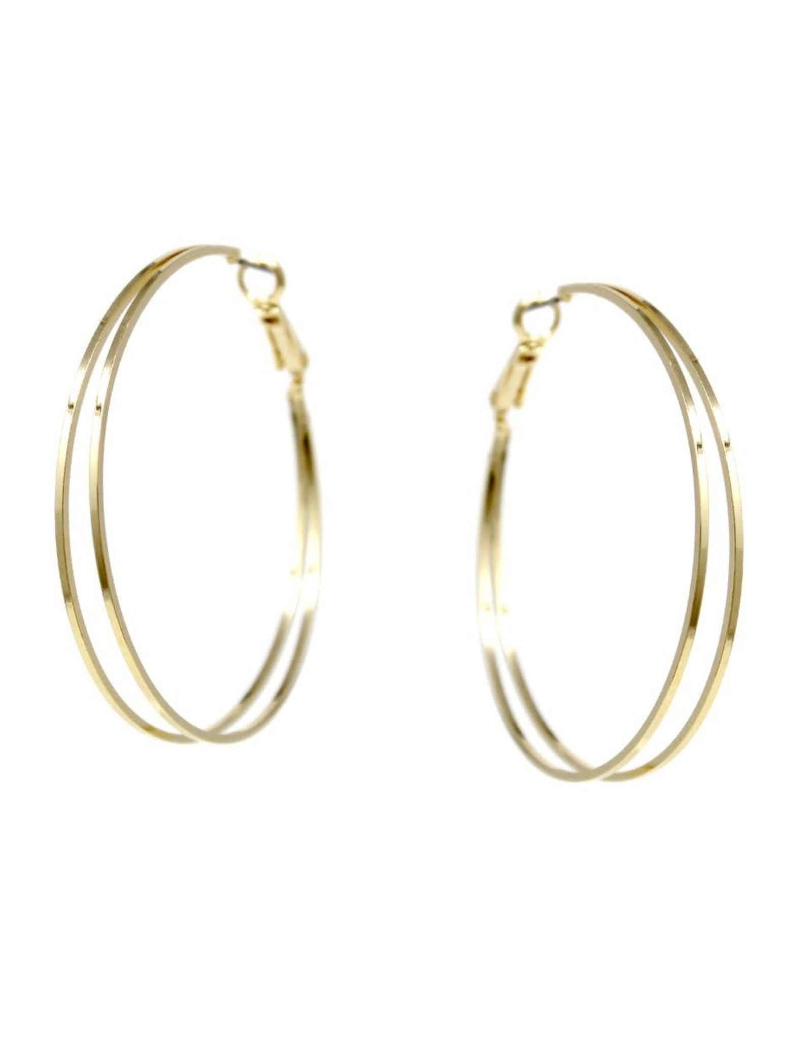 Square Edge Double Layered Hoop Earrings 50mm - Gold