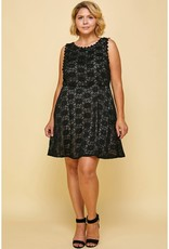 Black/Nude Lace Cocktail Mini Dress PLUS