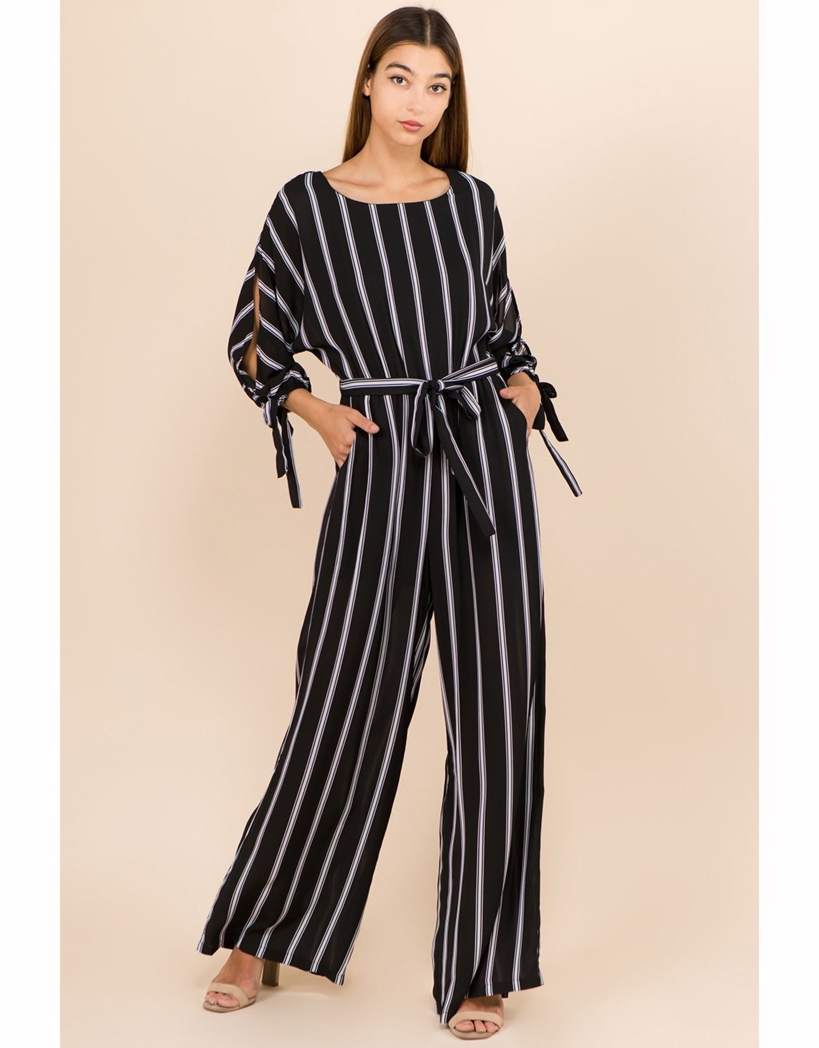 Black/White Stripe Jumpsuit
