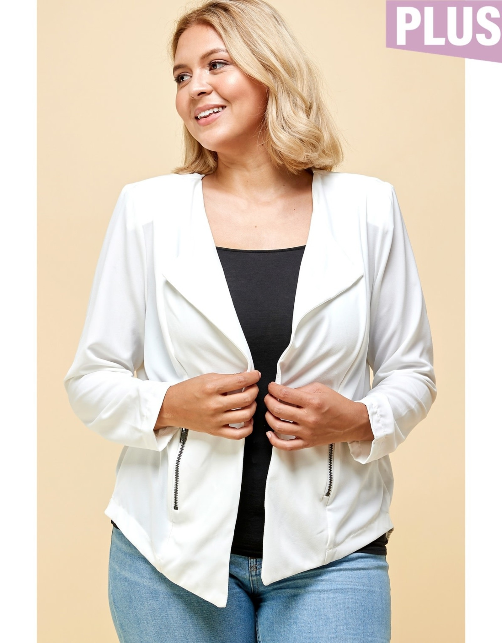 Open Front Draped Jacket - White PLUS