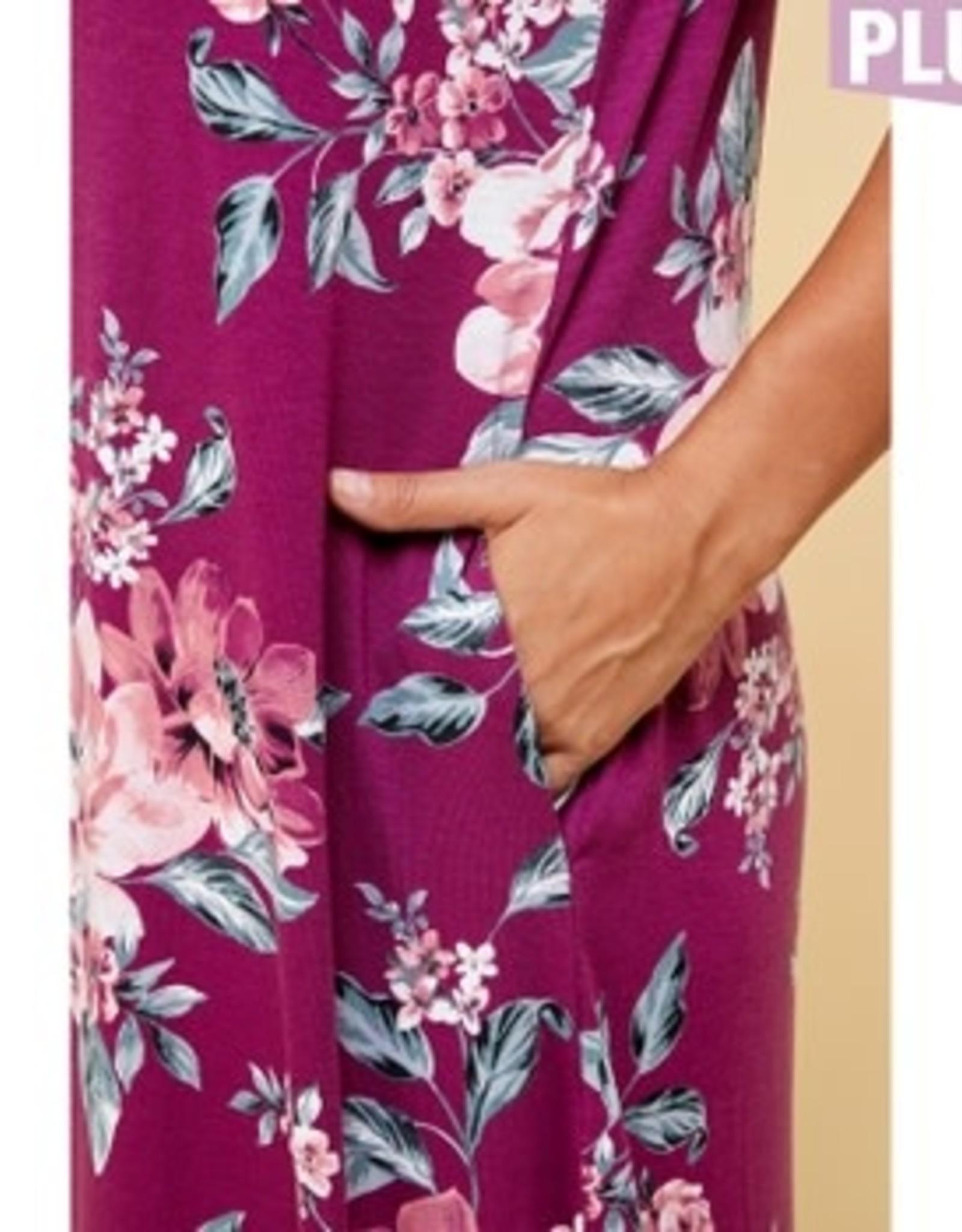 Short Sleeve Floral Maxi Dress PLUS