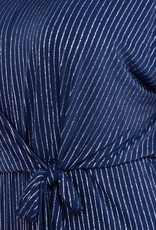 Silver Navy Stripe Front Tie Jumpsuit PLUS