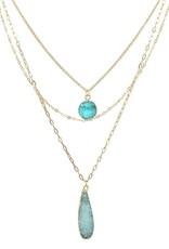 Round/Teardrop Druzy Stone Pendant Triple Layer Necklace - Turquoise