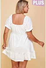 White Peasant Babydoll Dress PLUS