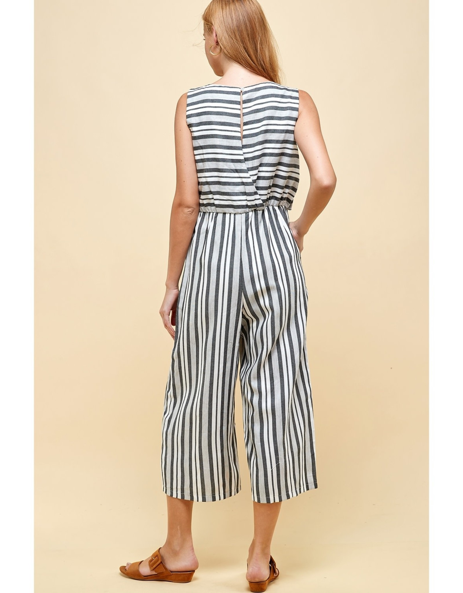 Striped Front Tie Gaucho Jumpsuit