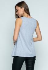 Sleeveless Top w/Studs - H Grey