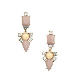 Faceted Framed Gem Drop Earrings - Lavender