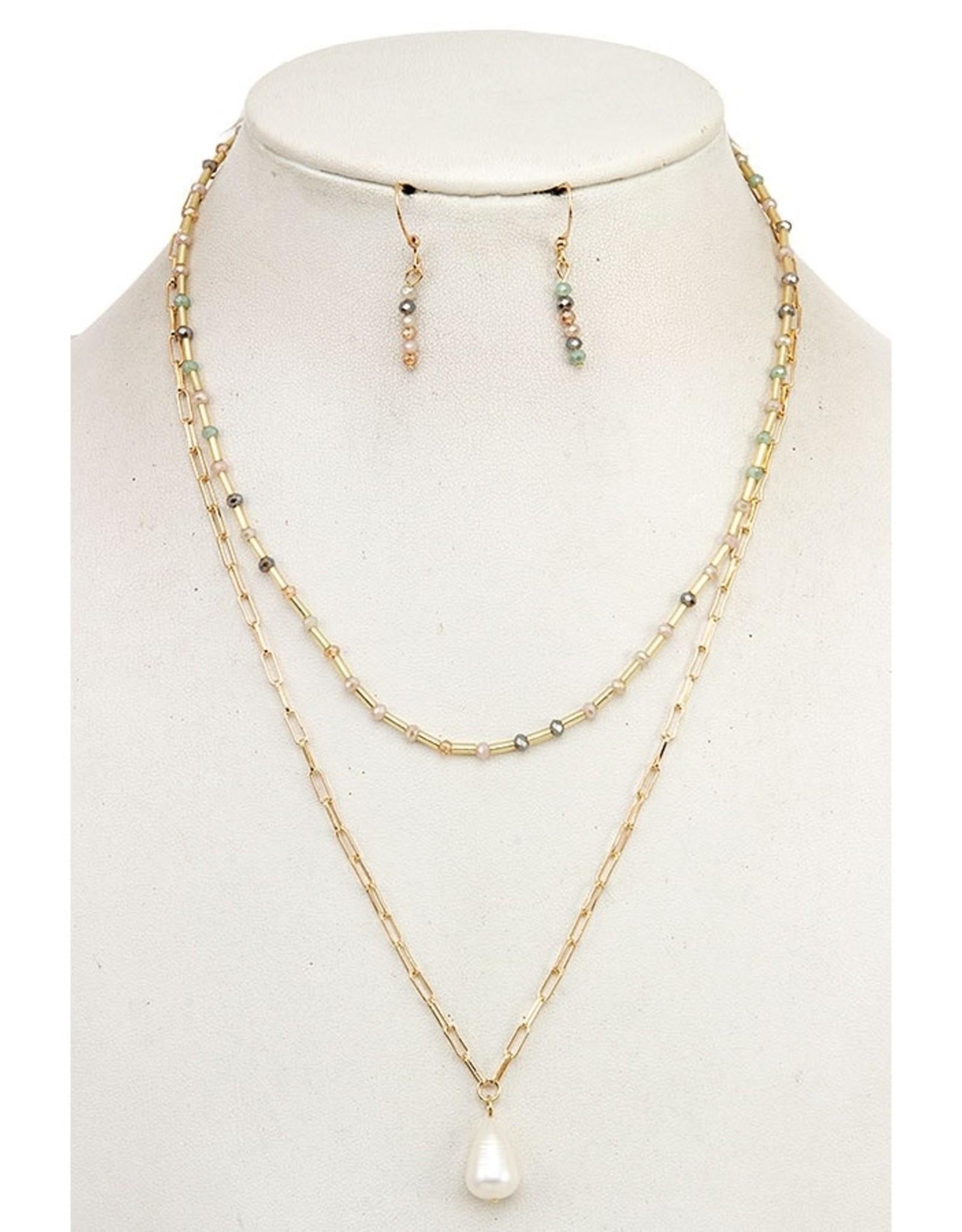 Layered Glass Bead Pearl Pendant Necklace Set - Lt Multi