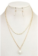Layered Glass Bead Pearl Pendant Necklace Set - White