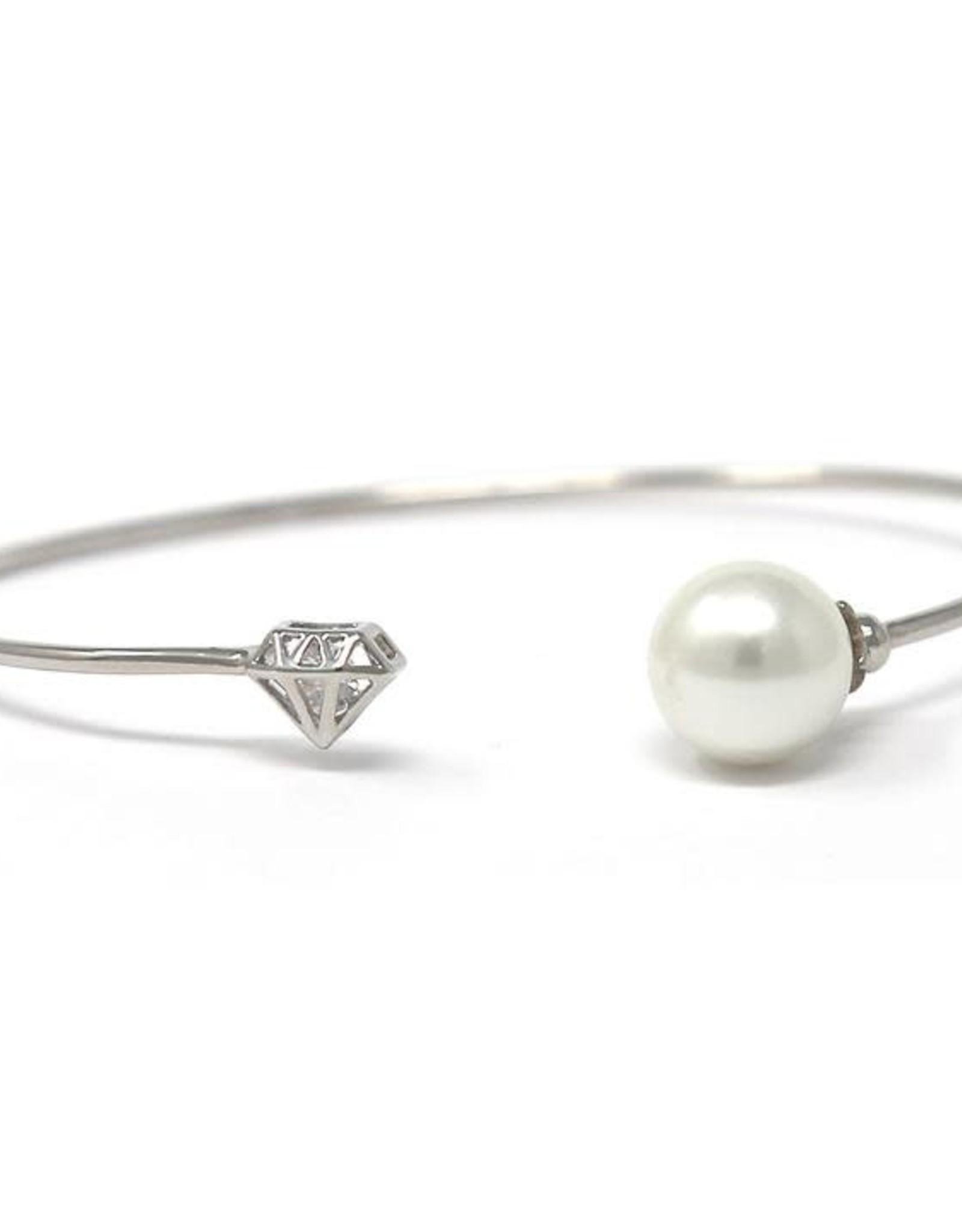 Cubic Zirconia Pave Diamond Shape Cage & Pearl Ball Cuff