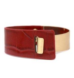 Metal & Animal Print Faux Leather Bracelet - Red