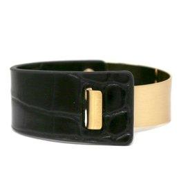 Metal & Animal Print Faux Leather Bracelet - Black